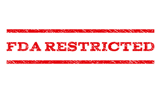 """FDA Restricted"" in red letters"